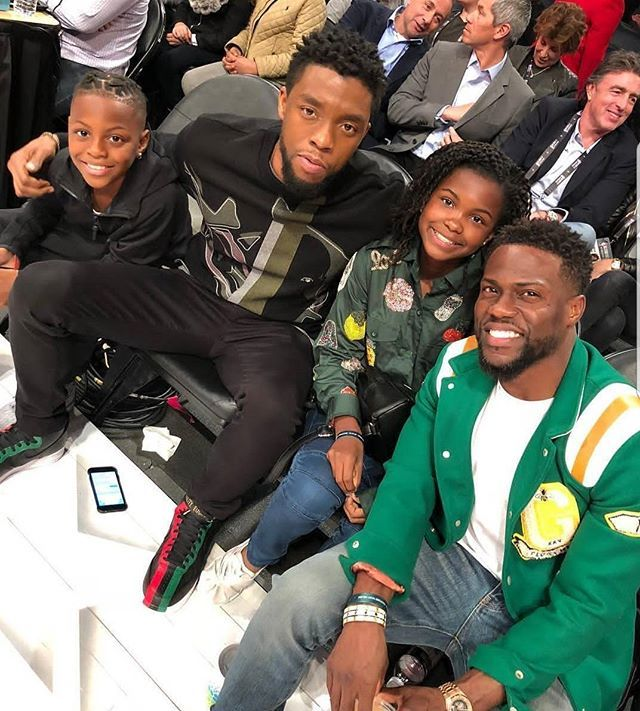 Blackpanther Star Chadwickboseman Snaps With Kevinhart Family Smile T Challa Black Panther Marvel Black Celebrities Celebrities