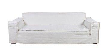 De bank Pierre linnen wit is een lange nonchalante bank.   Afmetingen: 240 x 100 x 80 cm