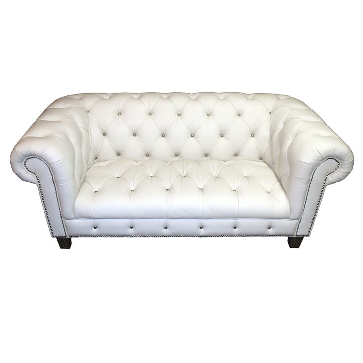 Beau Tufted White Leather Sofa