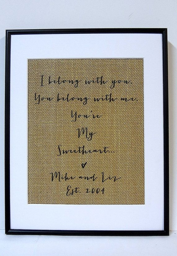 The Lumineers U0027Hey Hou0027 Song Lyric Art Print Personalized Burlap // Couples  Gift