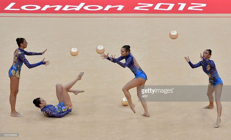 Team Bulgaria performs during the group all-around qualification of the rythmic gymnastics event of the London Olympic Games on August 9, 2012 at Wembley arena in London.