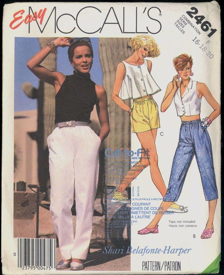 UC Size 16 18 20 Pant Shorts Capris Tapered McCalls 2461 Pattern Shari Belafonte #McCall