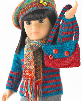 #Free Patterns; knit; pullover and shoulder bag for 18 inch doll  ~~