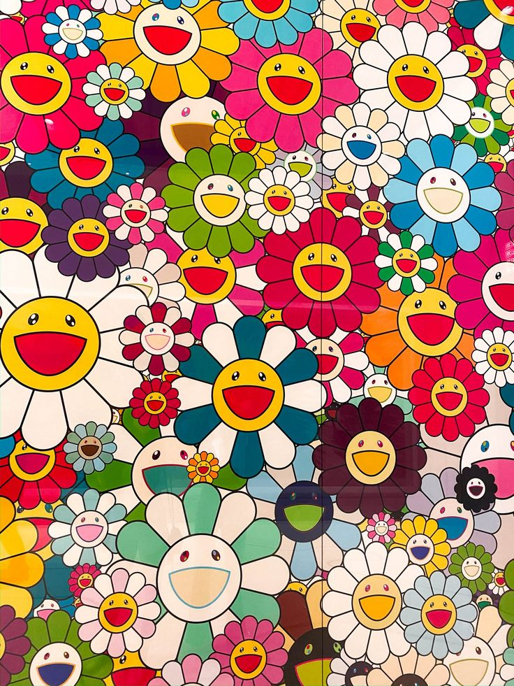 Hippie Wallpaper, Flower Wallpaper, Colorful Wallpaper, Aesthetic Iphone Wallpaper, Aesthetic Wallpapers, Takashi Murakami Art, Murakami Flower, Japon Illustration, Indie Art