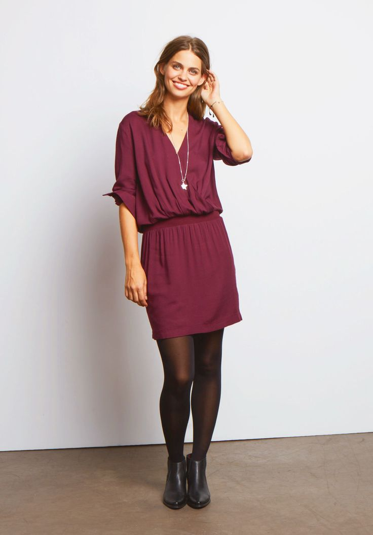 """A wrap style dress you'll wear and wear; this simple shape is ultra flattering with its feminine neckline. Add a simple necklace for elegance. • A semi-fitted style. The hem should fall on or above the knee depending on height. • Wrapped front V neck with full sleeves. • Pull on style. • Lightweight woven fabric with stretch waistband. • Length 97cm (size 10). • Model is 5'9"""" and wears size 10."""