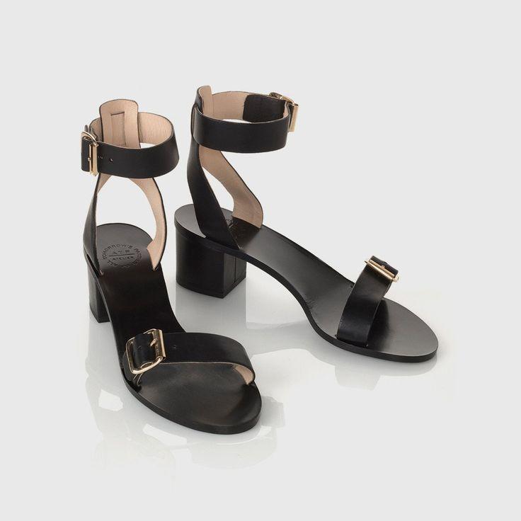 Carmen Low Heel Sandal - Black Leather