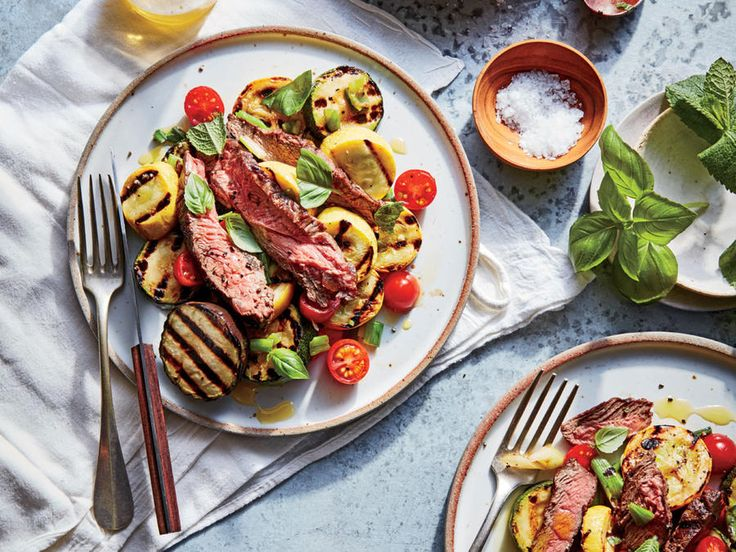 This recipe is designed specifically for grass-fed steak, which has less fat than grain-fed. The meat is pounded and seared quickly to ensure tenderness, and then served alongside smoky grilled ratatouille.