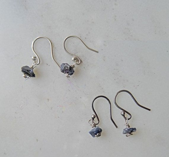 Raw Sapphire earrings uncut dark blue Sapphire by CalicoRoseStudio
