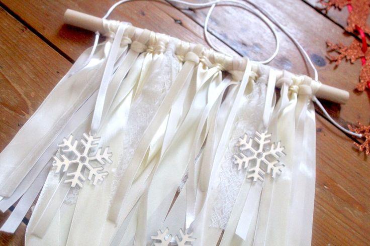Image of Velvet satin lace and sparkle snowflake ribbon hanger