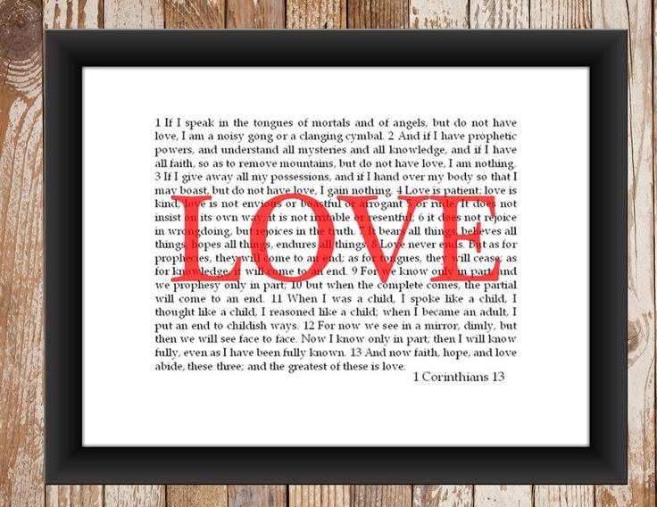 Wall Art 1 Corinthians 13   - but KJV Version