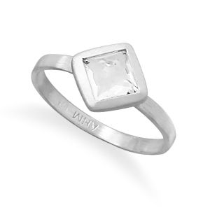 Brushed Freeform Faceted White Topaz Stackable Ring
