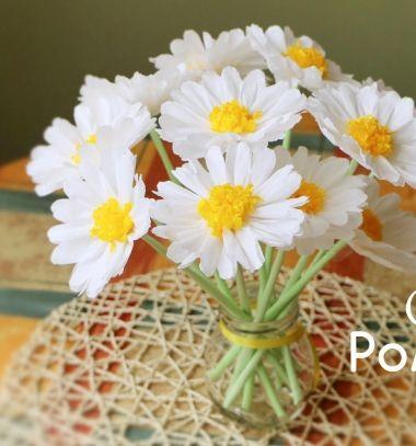 Crepe paper chamomiles ( paper flower bouquet ) - easy spring decor // Krepp papír kamillák ( papír virág csokor ) - tavaszi dekoráció // Mindy - craft tutorial collection