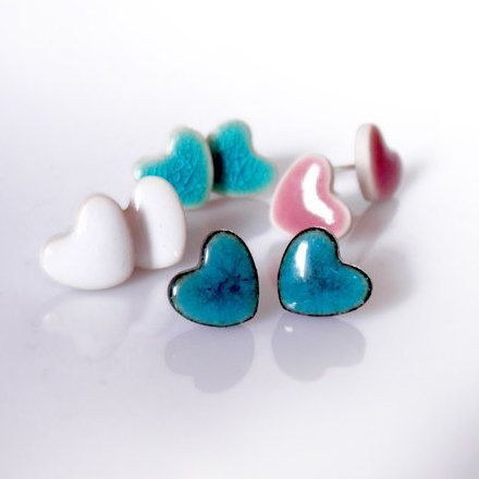 Red heart stud earrings Tiny heart studs Smal by ZuDesignJewelry