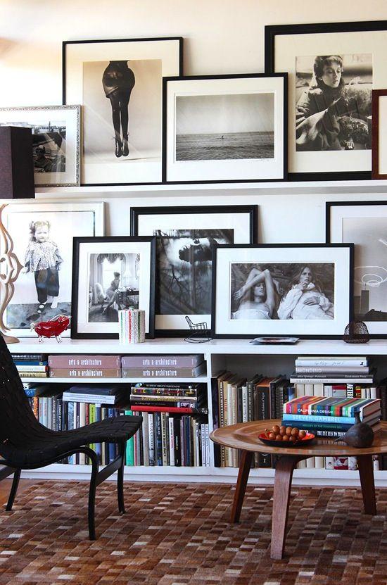 Framed pics on the shelves - make tall enough?