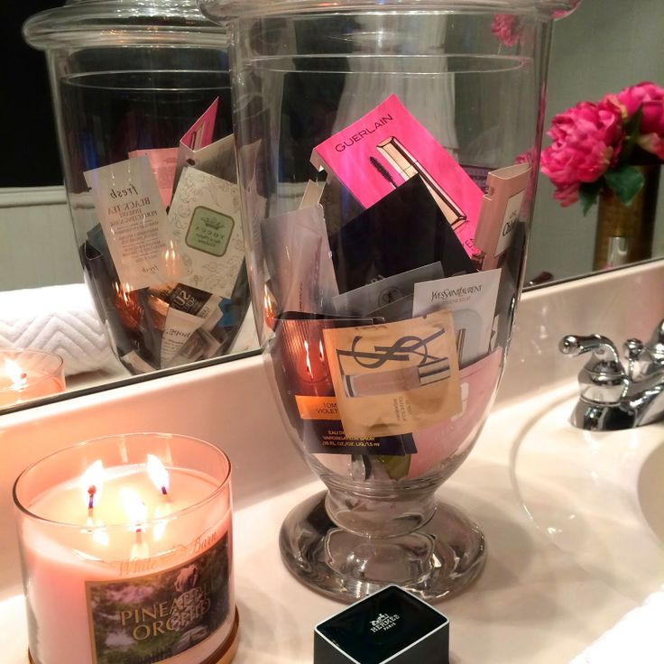 TiffanyD: Beauty Samples Idea... guest bathroom, sephora, samples