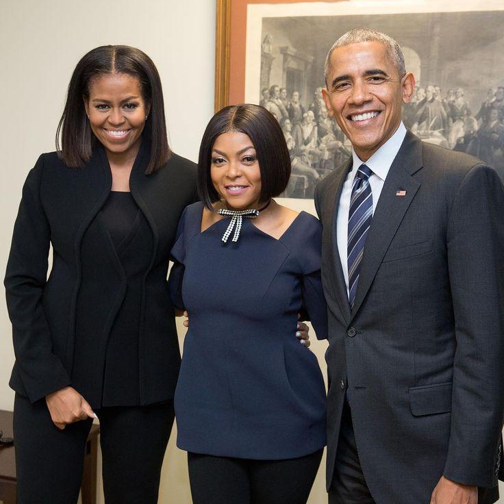 The Obamas with Taraji P. Henson.