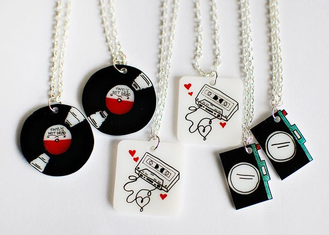 ♬♪ Music Pendants..L♥VE these tiny records, tapes cameras! You could use shrinky plastic cups ⇦⇩ design records...oh yeah!! ~  shrinky dinks  ♬♪♩