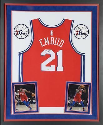 89b0a7a76 Joel Embiid 76ers Dlx Framed Signed Red Nike Swingman Jersey - Fanatics   Basketball