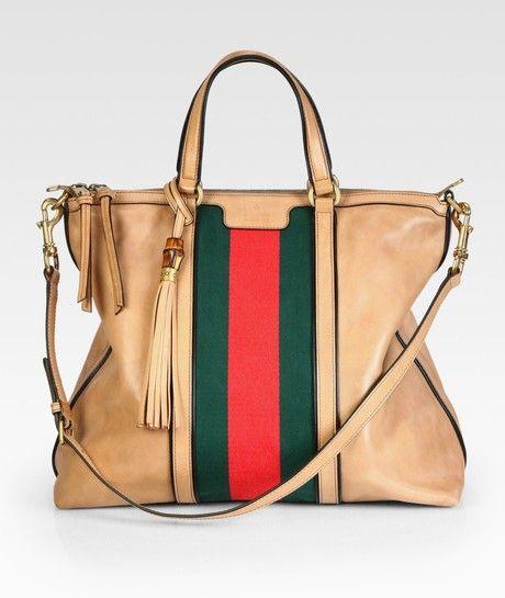 Gucci Khaki Rania Leather Top Handle Bag
