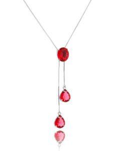 colar gravatinha ajustável com banho de rodio e zirconias rubi semi joias modernas - fb mo loves