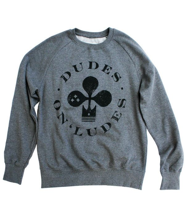 DUDES ON 'LUDES ORGANIC RAGLAN SWEATER 100% certified organic cotton brushed 3-ply 280-300gr Artwork and neck label are screen-printed with water based ink