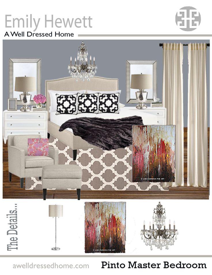Master Bedroom Online Design Board by Emily Hewett of A Well Dressed Home. 24 best Our Online Design Portfolio images on Pinterest