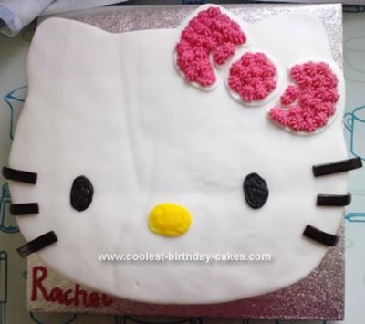 Homemade Hello Kitty Birthday Cake: I made this Hello Kitty Birthday Cake for my daughter's birthday party. It was very basic and easy to make. I made a square sponge and cut it to the right