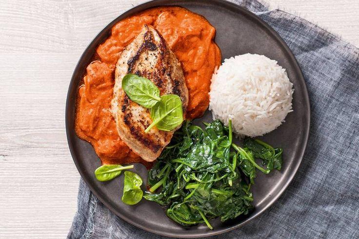 Zachte kip tikka masala met wilde spinazie en rijst - Recept - Allerhande