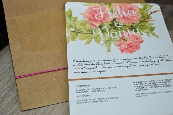 Convite de Casamento Vintage Floral - Bliss Convites