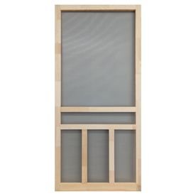 Screen tight creekside 36 in natural wood screen door for Front door screen doors lowes