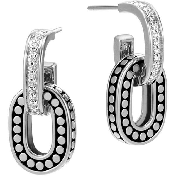 John Hardy Sterling Silver Dot Drop Earrings with Pave Diamonds (36 585 UAH) ❤ liked on Polyvore featuring jewelry, earrings, sterling silver earrings, john hardy jewelry, dot jewelry, polka dot earrings and dot earrings