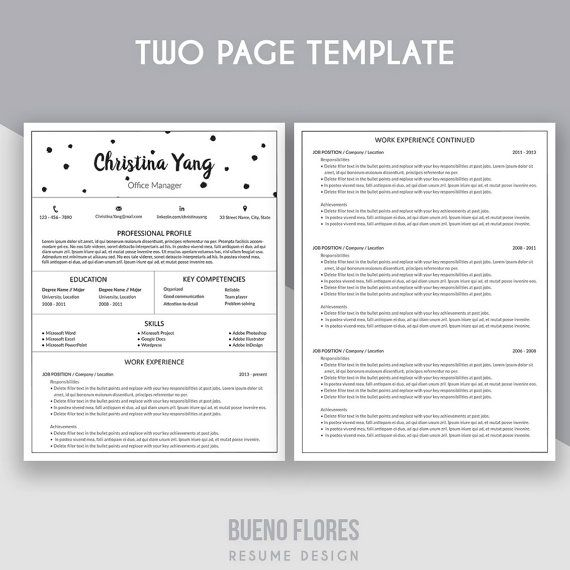 """Introducing """"Christina Yang"""" resume remplate , an elegant feminine multipurpose design, which includes a two page resume/cv, cover letter and reference page."""