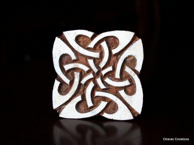 Hand Carved Indian Wood Textile Stamp Block- Celtic Square