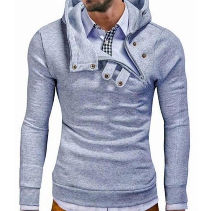 Hoodies Men Hip hop Sweatshirt Fashion Mens hoodies 2017 brand Autumn Winter Cotton pullover Button Turtleneck male hoody #fashionhoodiemens