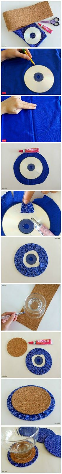 Tutorial de como fazer porta-copos com CDs.  #artesanato #decoracao #portacopos #reciclagem #organizacao #estampa #vidro #cd #tutorial #diy #handmade #dica #ideia #sustentavel #marrispe