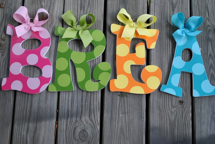 Handpainted and Personalized Letters - POLKA DOTTIE Handpainted Letter (set) - Name and Word Letters. $13.99, via Etsy.