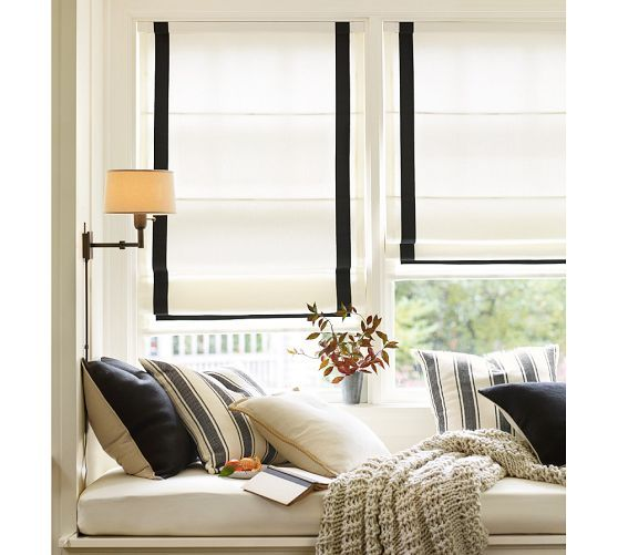 Grosgrain Ribbon Cordless Roman Shade | Pottery Barn - really want these for the kitchen, why are roman blinds so expensive!?!