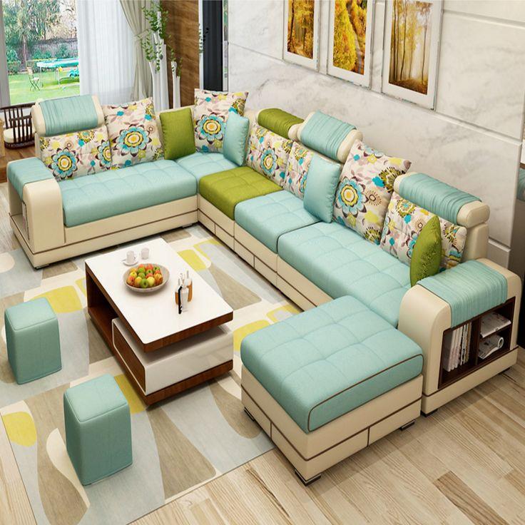 Luxury Modern U Shaped Leather Fabric Corner Sectional ...
