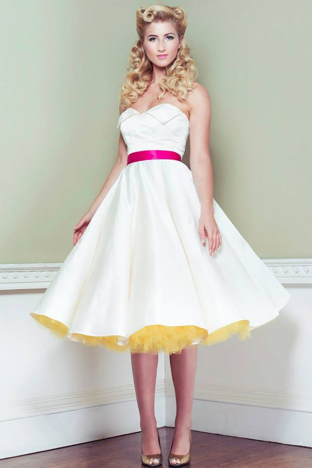 """Grace"" by Oh My Honey. A Strapless White retro 1950s Wedding Dress with custom color detailing!"