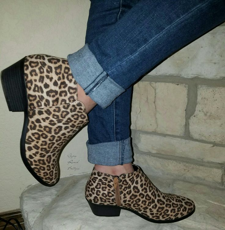 Leopard Booties Sizes 5.5- 11  Perfect for fall order here www.gypzranch.com