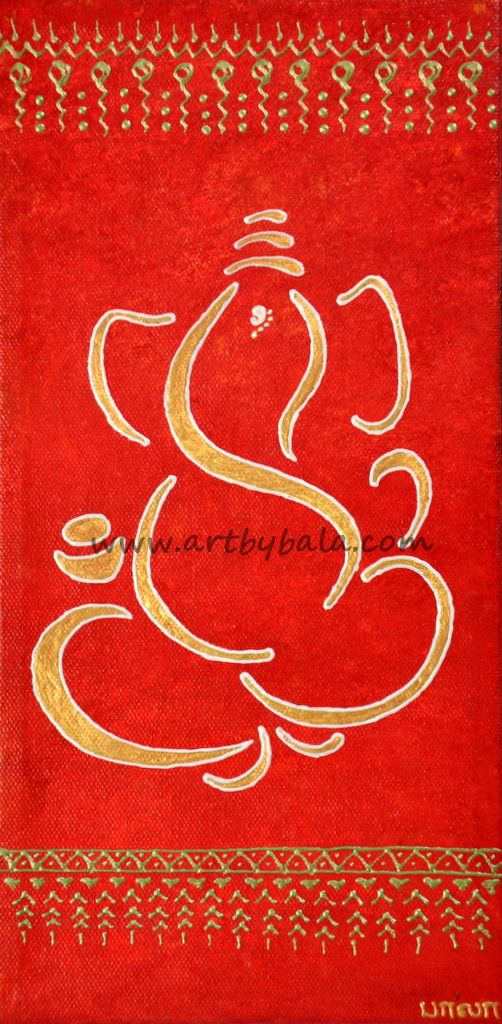 "Abstract Ganesh Painting. 6"" x 12"" Textured henna style acrylics on canvas. (c) Bala Thiagarajan 2014. The Ganesh is bold in Gold with a silver mist outline and surrounded with iridescent green patterns on a mottled red background."