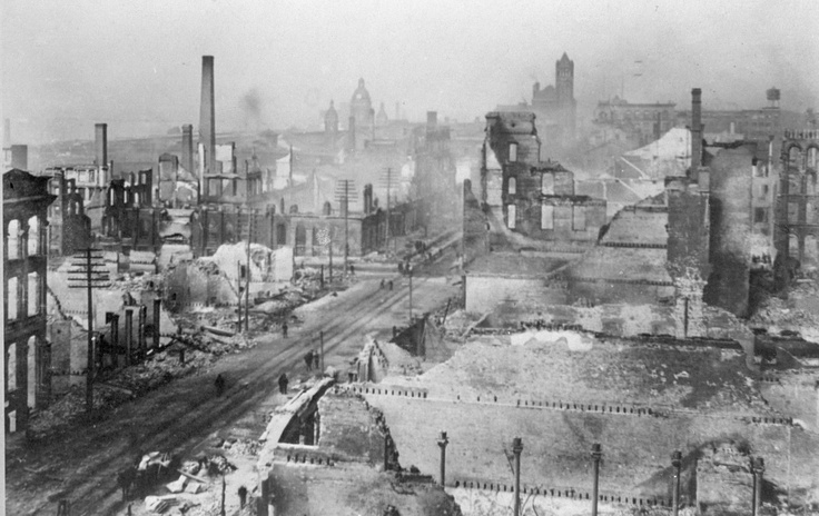 Aftermath of the Great Toronto Fire (April 19, 1904): This image shows the damage at Front Street, looking west towards Yonge St.