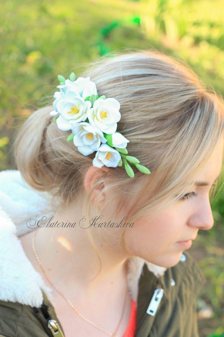 bridal headpiece, freesia wedding hair, bridal hair comb, floral crown, wedding hair pieces, hair pin, wedding accessories, bridal accessory