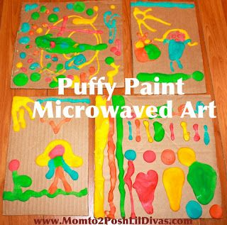 Love this idea!  Puffy Paint - 1 cup flour, 2 tbsp baking powder, 2 tbsp salt.  Mix with a little water at a time until it's like pancake mix.  Then add food coloring.  Paint and microwave!