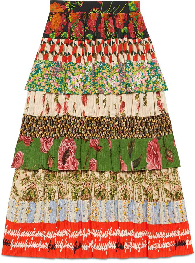 Patchwork print silk skirt #AffiliateLink #Ad