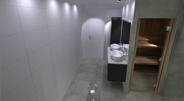 3d ritning med bastu och mörkare badrumsmöbler...