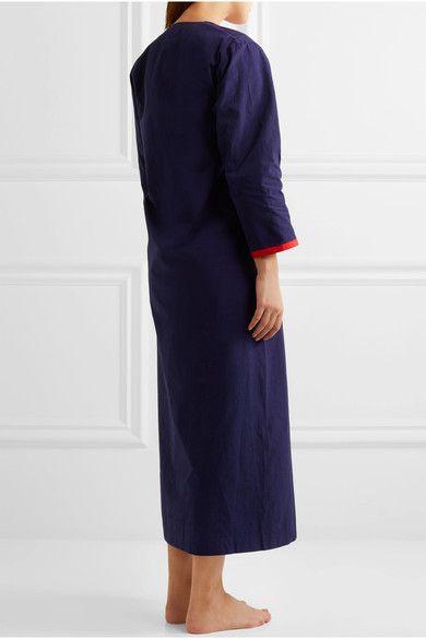 Sleepy Jones - Germaine Grosgrain-trimmed Cotton Kaftan - Navy -
