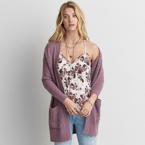 AE Pointelle Open Cardigan ($50) ❤ liked on Polyvore featuring tops, cardigans, purple, drape top, open front draped cardigan, open drape cardigan, purple cardigan and pointelle cardigan