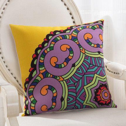 2016 Classic vintage Mediterranean Style Cushion Cotton and Linen Pillows Decorative Throw Pillowcase Home Use Pillows Dec003
