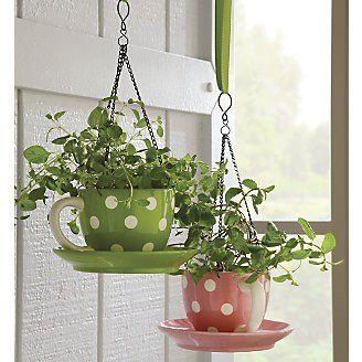 Polka dot teacup planters, too cute!!!